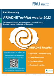 Hier wird ein Poster zum Programmstart von ARIADNEtechnat für Studentinnen gezeigt.